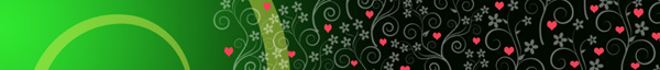 Green floral design with pink hearts