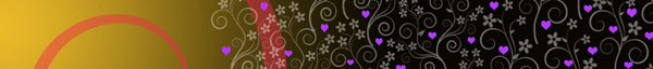 purple hearts and flowers design on gradient gold background