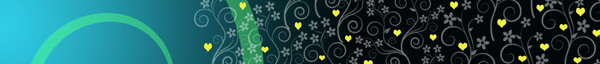 yellow hearts and flower design on blue gradient background