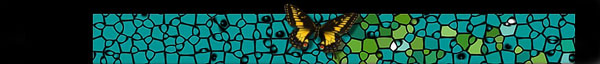 blue mosaic with yellow butterfly