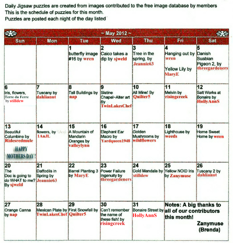 Calendar for May 2012 free puzzles